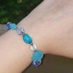 Blue Beaded Hand Blown Glass Bracelet